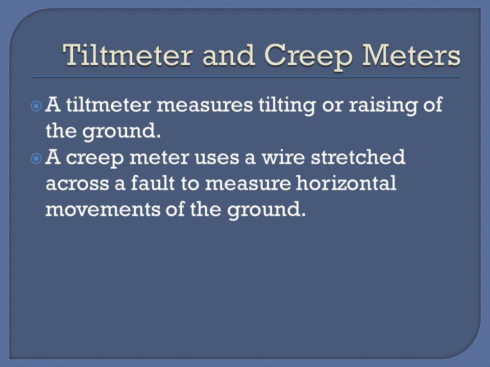  A tiltmeter measures tilting or raising of the ground.