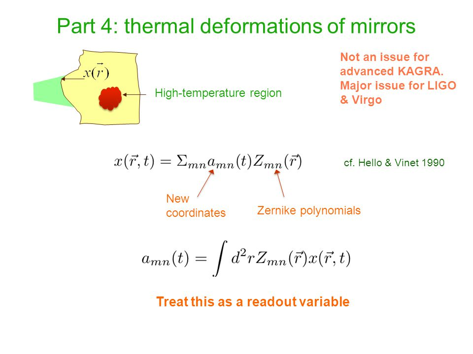 Part 4: thermal deformations of mirrors High-temperature region Not an issue for advanced KAGRA. Major issue for LIGO & Virgo Zernike polynomials New