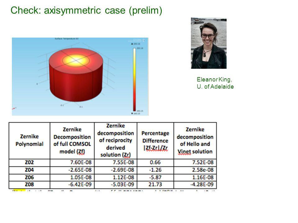 Check: axisymmetric case (prelim) Eleanor King, U. of Adelaide