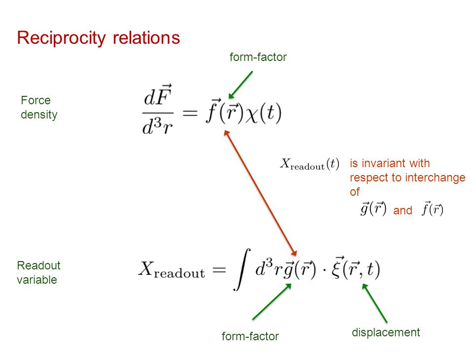 Reciprocity relations Force density Readout variable displacement form-factor is invariant with respect to interchange of and