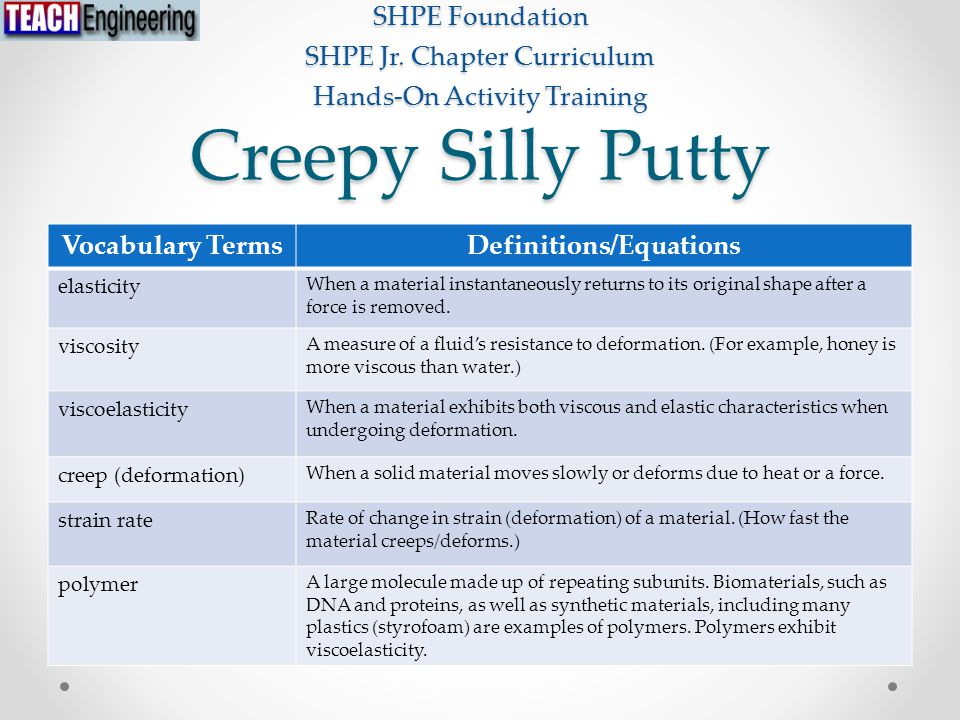 Creepy Silly Putty SHPE Foundation SHPE Jr.