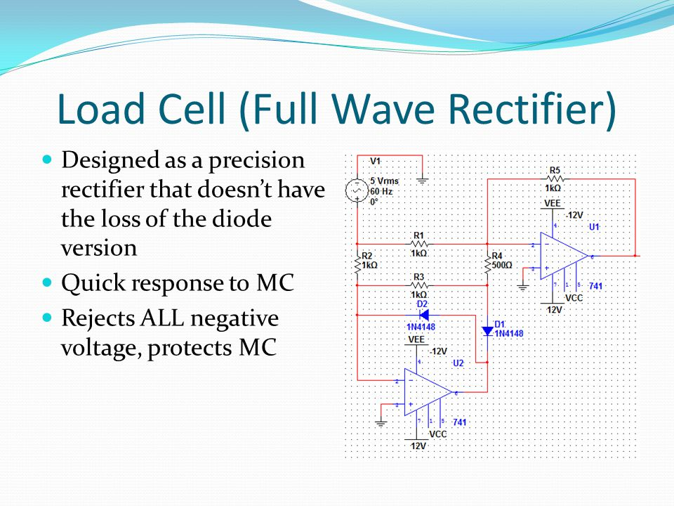 Load Cell (Full Wave Rectifier) Designed as a precision rectifier that doesn't have the loss of the diode version Quick response to MC Rejects ALL negative voltage, protects MC
