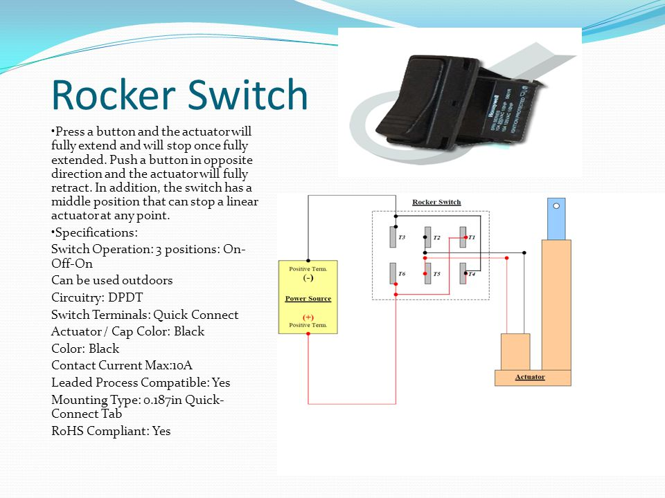 Rocker Switch Press a button and the actuator will fully extend and will stop once fully extended.