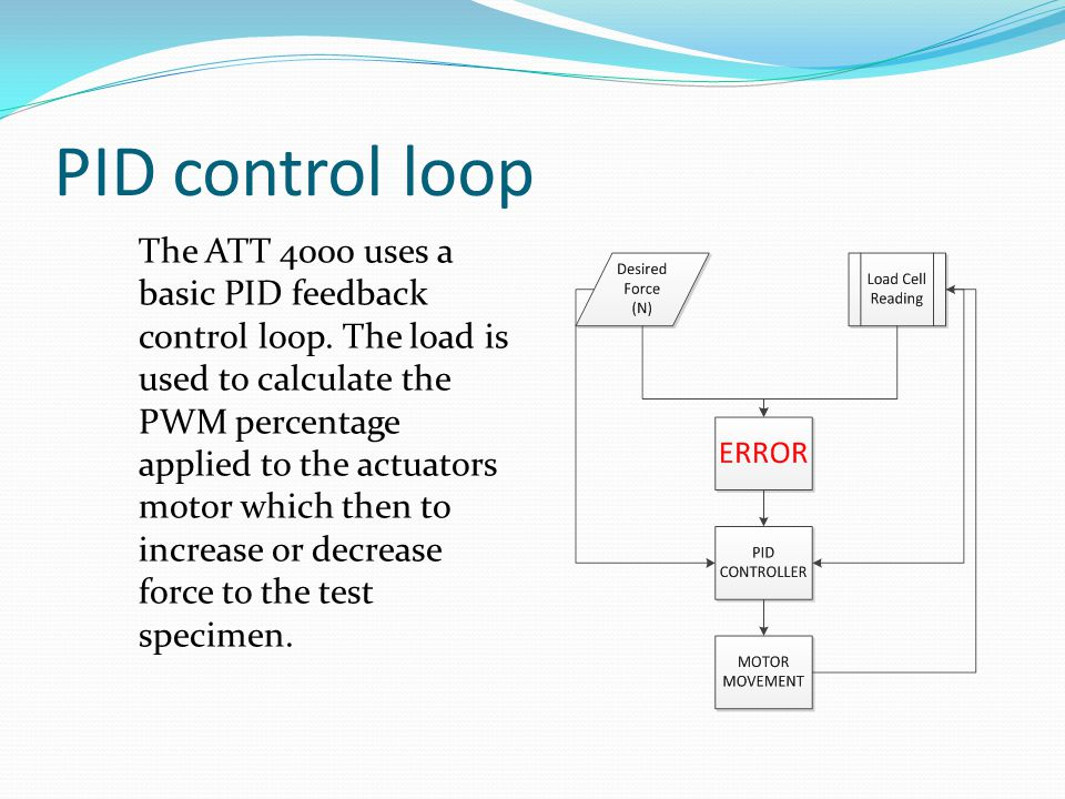 PID control loop The ATT 4000 uses a basic PID feedback control loop.