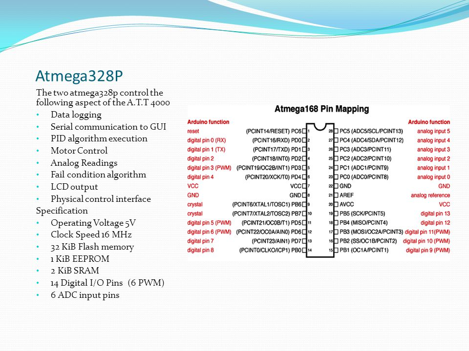 Atmega328P The two atmega328p control the following aspect of the A.T.T 4000 Data logging Serial communication to GUI PID algorithm execution Motor Co