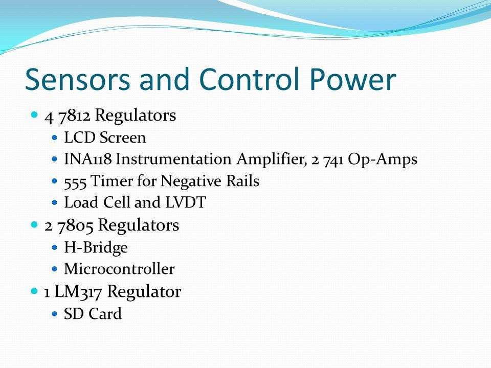 Sensors and Control Power 4 7812 Regulators LCD Screen INA118 Instrumentation Amplifier, 2 741 Op-Amps 555 Timer for Negative Rails Load Cell and LVDT 2 7805 Regulators H-Bridge Microcontroller 1 LM317 Regulator SD Card