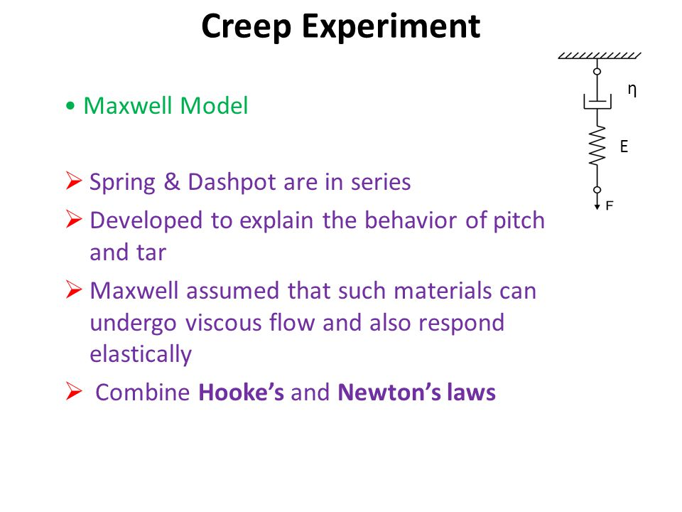 Maxwell Model  Spring & Dashpot are in series  Developed to explain the behavior of pitch and tar  Maxwell assumed that such materials can undergo