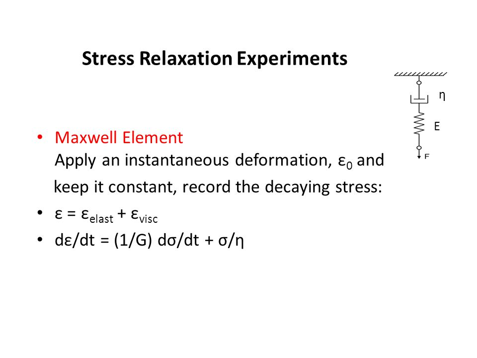 Stress Relaxation Experiments Maxwell Element Apply an instantaneous deformation, ε 0 and keep it constant, record the decaying stress: ε = ε elast +