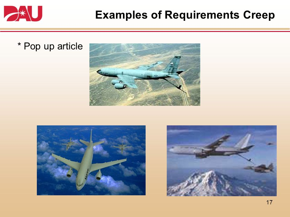 Examples of Requirements Creep * Pop up article 17