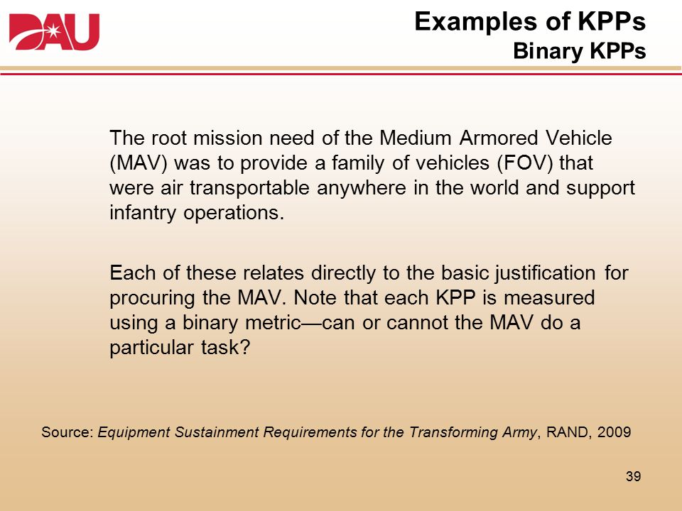 Examples of KPPs Binary KPPs The root mission need of the Medium Armored Vehicle (MAV) was to provide a family of vehicles (FOV) that were air transpo