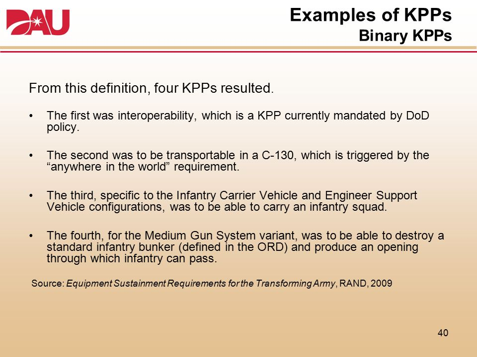 Examples of KPPs Binary KPPs From this definition, four KPPs resulted. The first was interoperability, which is a KPP currently mandated by DoD policy