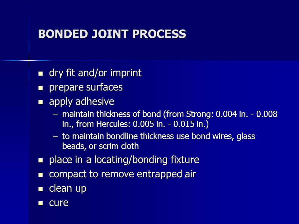PREPARATION OF COMPOSITE ADHEREND surface must be free of grease and other contaminants (i.e.
