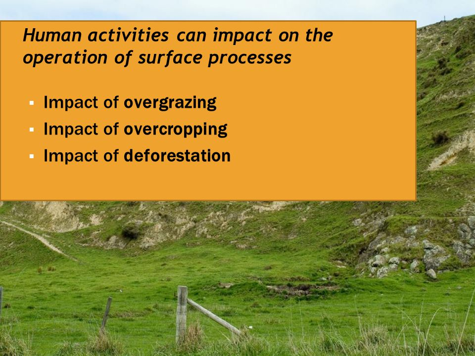 Human activities can impact on the operation of surface processes  Impact of overgrazing  Impact of overcropping  Impact of deforestation
