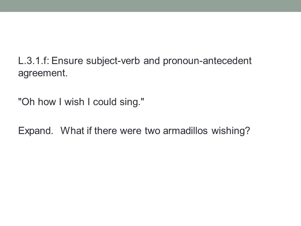 L.3.1.f: Ensure subject-verb and pronoun-antecedent agreement.
