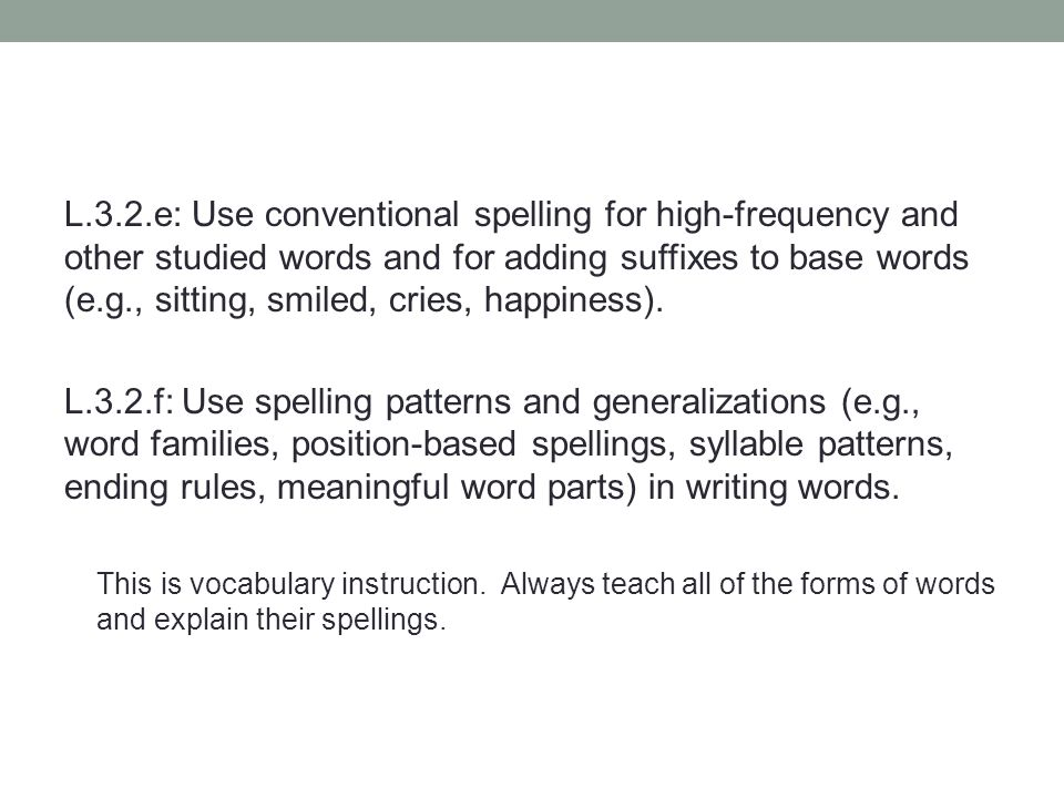 L.3.2.e: Use conventional spelling for high-frequency and other studied words and for adding suffixes to base words (e.g., sitting, smiled, cries, happiness).