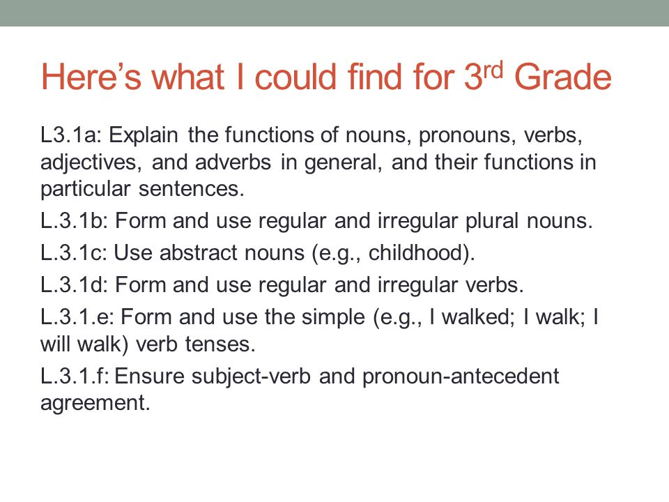 Here's what I could find for 3 rd Grade L3.1a: Explain the functions of nouns, pronouns, verbs, adjectives, and adverbs in general, and their functions in particular sentences.