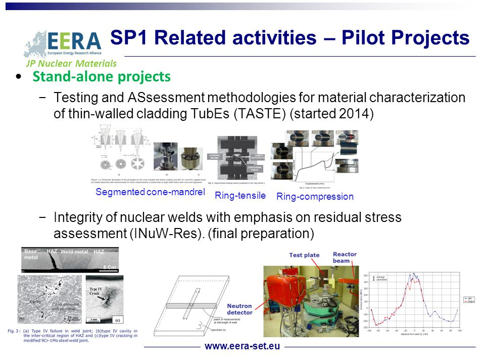 JP Nuclear Materials SP1 Related activities – Pilot Projects Stand-alone projects −Testing and ASsessment methodologies for material characterization of thin-walled cladding TubEs (TASTE) (started 2014) −Integrity of nuclear welds with emphasis on residual stress assessment (INuW-Res).