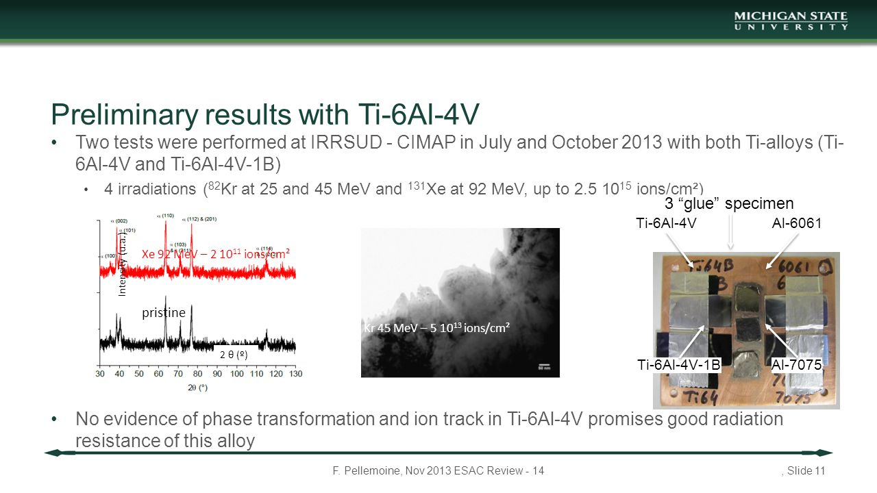 Two tests were performed at IRRSUD - CIMAP in July and October 2013 with both Ti-alloys (Ti- 6Al-4V and Ti-6Al-4V-1B) 4 irradiations ( 82 Kr at 25 and 45 MeV and 131 Xe at 92 MeV, up to 2.5 10 15 ions/cm²) No evidence of phase transformation and ion track in Ti-6Al-4V promises good radiation resistance of this alloy F.