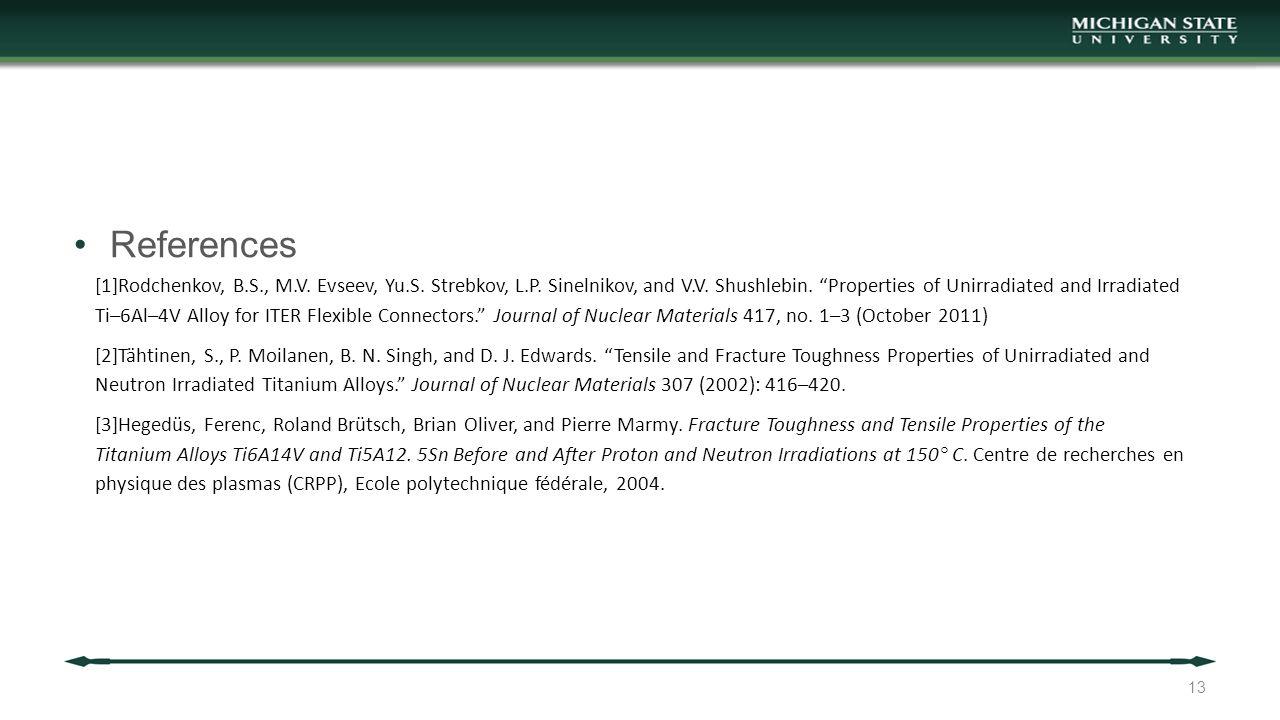"References 13 [1]Rodchenkov, B.S., M.V. Evseev, Yu.S. Strebkov, L.P. Sinelnikov, and V.V. Shushlebin. ""Properties of Unirradiated and Irradiated Ti–6A"