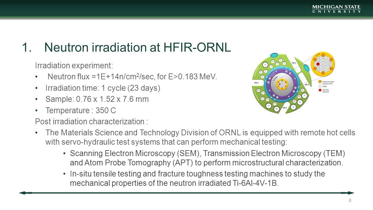 1.Neutron irradiation at HFIR-ORNL Irradiation experiment: Neutron flux =1E+14n/cm 2 /sec, for E>0.183 MeV. Irradiation time: 1 cycle (23 days) Sample