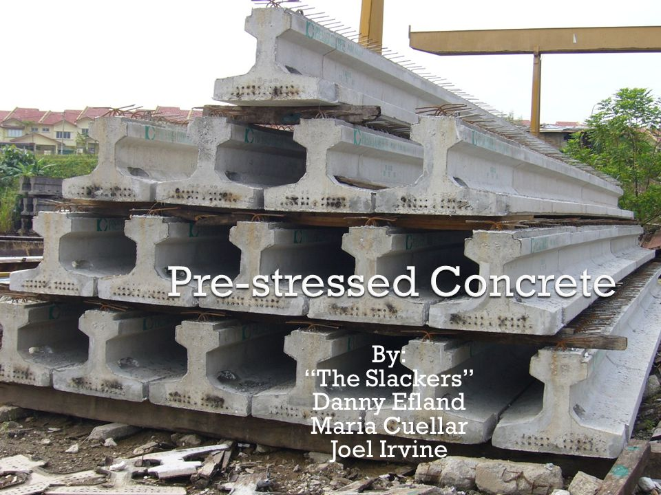  Definition: Pre-stressed concrete is a form of reinforced concrete that builds in compressive stresses during construction to oppose those found when in use.  In other words it is a combination of steel and concrete that takes advantages of the strengths of each material.