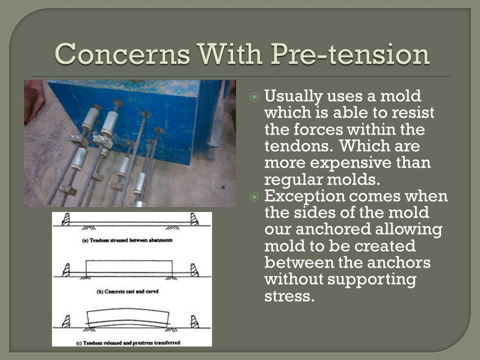  Concrete sample should be taken for every new mix so that strength obtained may be determined before cutting the tendons releasing the stresses onto the concrete.