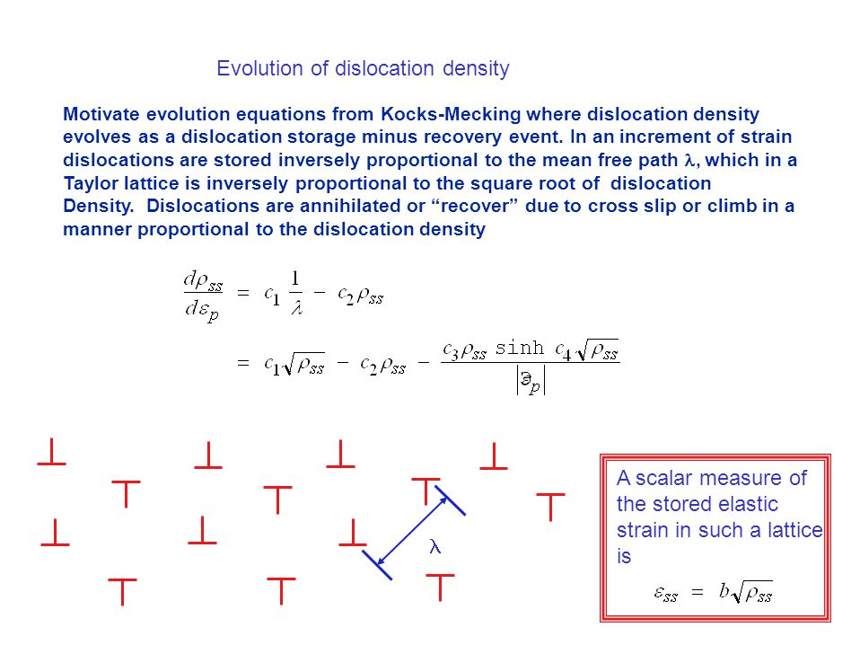 Motivate evolution equations from Kocks-Mecking where dislocation density evolves as a dislocation storage minus recovery event.