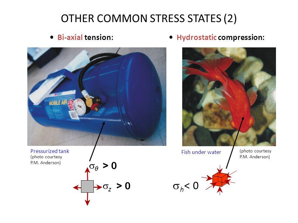 Bi-axial tension: Hydrostatic compression: Pressurized tank   < 0 h (photo courtesy P.M.