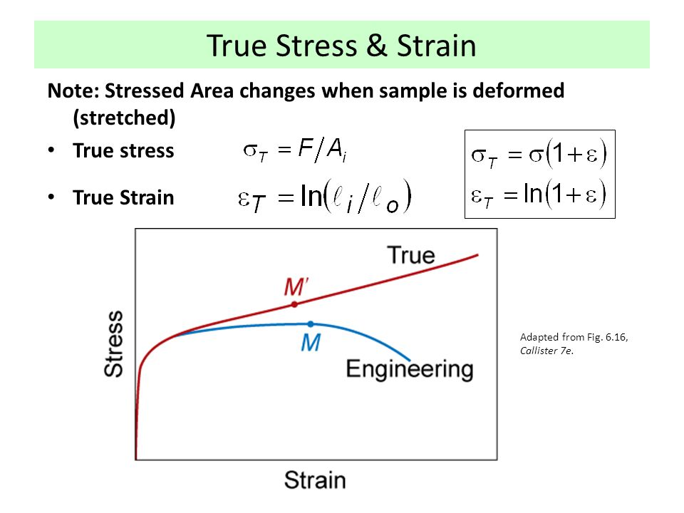 True Stress & Strain Note: Stressed Area changes when sample is deformed (stretched) True stress True Strain Adapted from Fig. 6.16, Callister 7e.