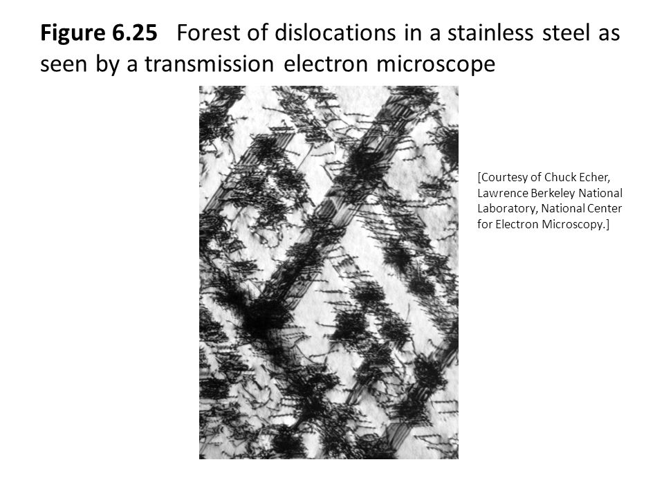 Figure 6.25 Forest of dislocations in a stainless steel as seen by a transmission electron microscope [Courtesy of Chuck Echer, Lawrence Berkeley National Laboratory, National Center for Electron Microscopy.]