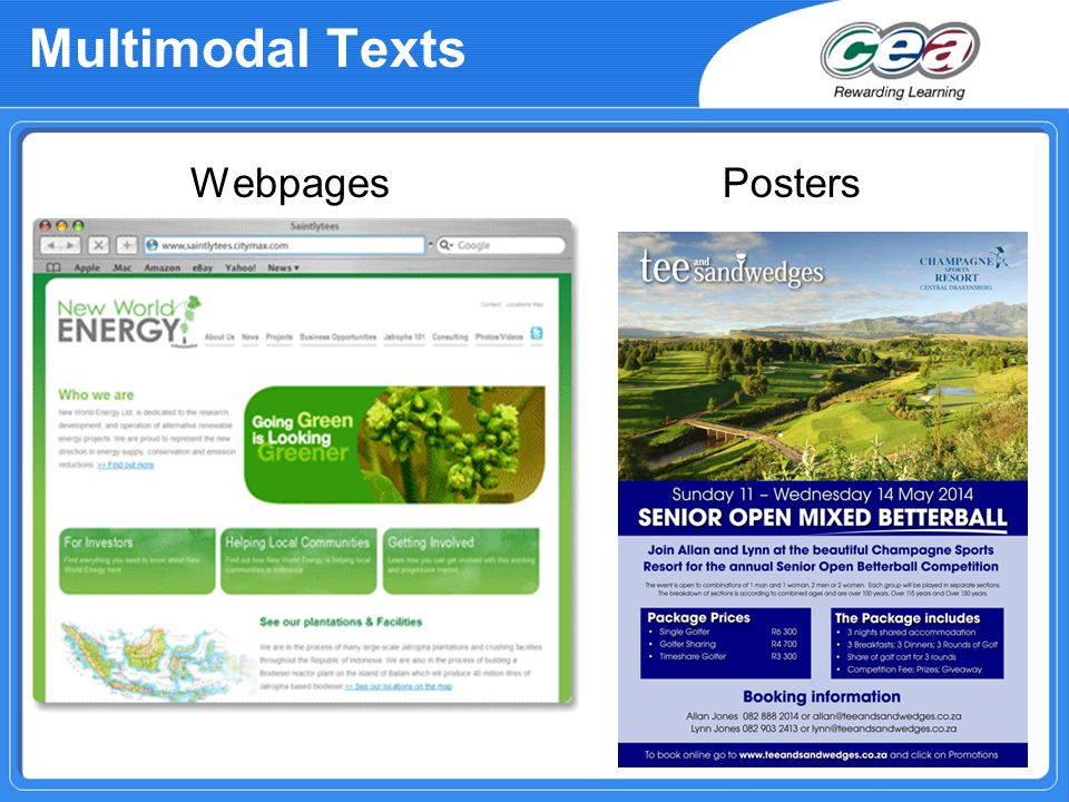 Multimodal Texts WebpagesPosters