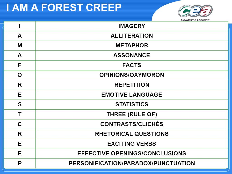 I AM A FOREST CREEP IIMAGERY AALLITERATION MMETAPHOR AASSONANCE FFACTS OOPINIONS/OXYMORON RREPETITION EEMOTIVE LANGUAGE SSTATISTICS TTHREE (RULE OF) CCONTRASTS/CLICHÉS RRHETORICAL QUESTIONS EEXCITING VERBS EEFFECTIVE OPENINGS/CONCLUSIONS PPERSONIFICATION/PARADOX/PUNCTUATION