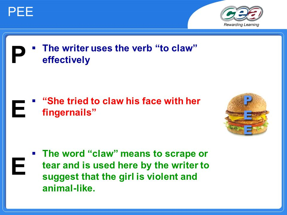 PEE  The writer uses the verb to claw effectively  She tried to claw his face with her fingernails  The word claw means to scrape or tear and is used here by the writer to suggest that the girl is violent and animal-like.