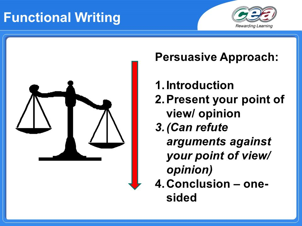 Functional Writing Persuasive Approach: 1.Introduction 2.Present your point of view/ opinion 3.(Can refute arguments against your point of view/ opinion) 4.Conclusion – one- sided