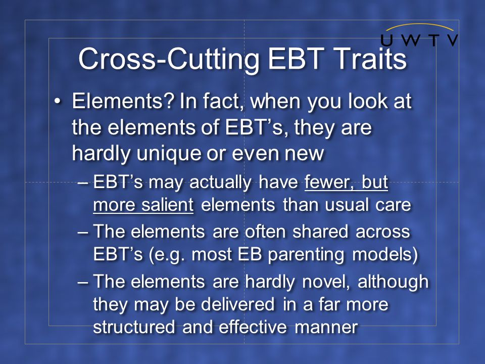 Cross-Cutting EBT Traits Elements.