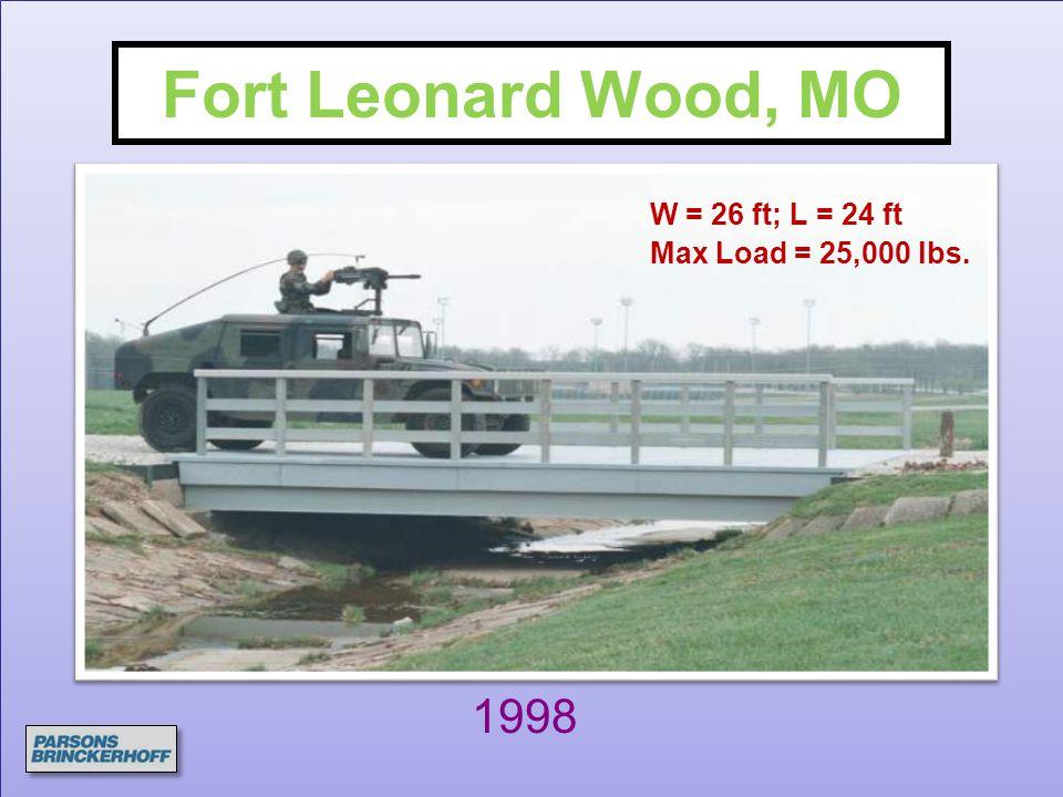 Fort Leonard Wood, MO W = 26 ft; L = 24 ft Max Load = 25,000 lbs. 1998