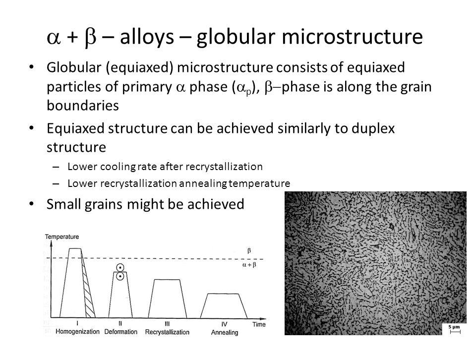  +  – alloys – globular microstructure Globular (equiaxed) microstructure consists of equiaxed particles of primary  phase (  p ),  phase is alo