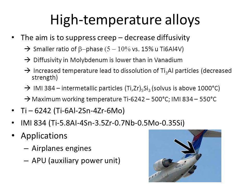 High-temperature alloys The aim is to suppress creep – decrease diffusivity  Smaller ratio of  phase  vs. 15% u Ti6Al4V)  Diffusivity in