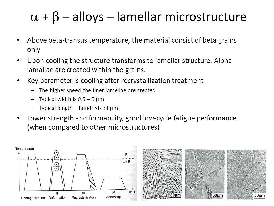 Metastable  – alloys – strengthening After annealing in b-region material consists of pure  -phase – Comparatively low strength, given by chemical composition (solid solution strengthening and eventual precipitation hardening) and grain size – Strength can be increased from 450 MPa to 1200 Mpa (Ti-Nb-Zr-Ta-Fe-Si-O alloy) Low-stabilized alloys – Lamellae of  -phase are created during annealing at high temperatures in  region – Ageing – small  -plates can be created High-stabilized alloys –  precipitates can be formed after formation of precursors  or  ´ – Strength can be increased from 600 MPa to 1400 MPa (Ti LCB) Ti-6Al-2Sn-4Zr-6Mo – beta worked, annealed Ti-4.5Fe-6.8Mo-1.5Al – beta annealed, aged