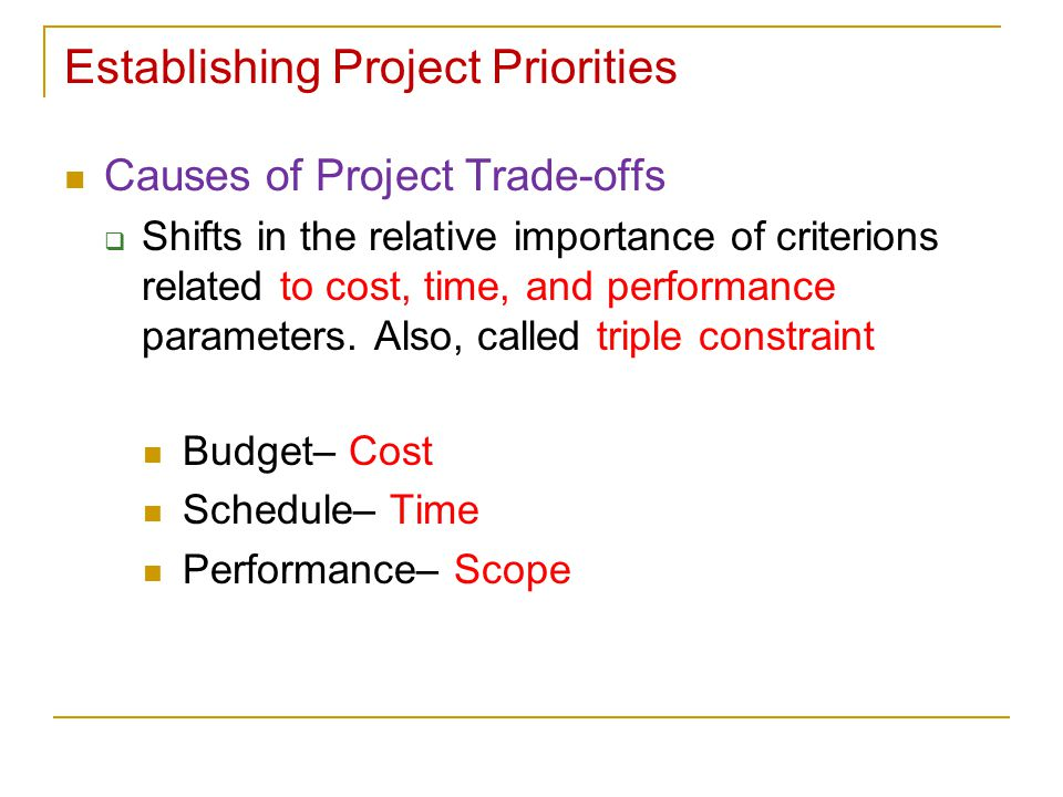 Establishing Project Priorities Causes of Project Trade-offs  Shifts in the relative importance of criterions related to cost, time, and performance