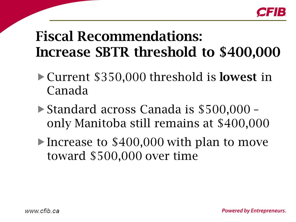 www.cfib.ca Fiscal Recommendations: Increase SBTR threshold to $400,000 Current $350,000 threshold is lowest in Canada Standard across Canada is $500,000 – only Manitoba still remains at $400,000 Increase to $400,000 with plan to move toward $500,000 over time