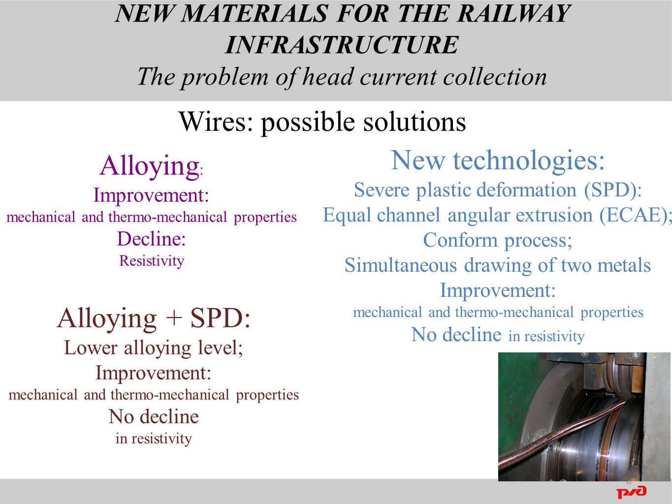 NEW MATERIALS FOR THE RAILWAY INFRASTRUCTURE The problem of head current collection 6 Wires: possible solutions Alloying : Improvement: mechanical and thermo-mechanical properties Decline: Resistivity New technologies: Severe plastic deformation (SPD): Equal channel angular extrusion (ECAE); Conform process; Simultaneous drawing of two metals Improvement: mechanical and thermo-mechanical properties No decline in resistivity Alloying + SPD: Lower alloying level; Improvement: mechanical and thermo-mechanical properties No decline in resistivity