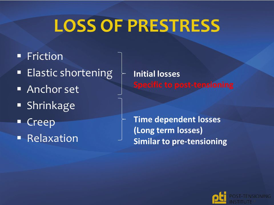 LOSS OF PRESTRESS  Friction  Elastic shortening  Anchor set  Shrinkage  Creep  Relaxation Initial losses Specific to post-tensioning Time dependent losses (Long term losses) Similar to pre-tensioning