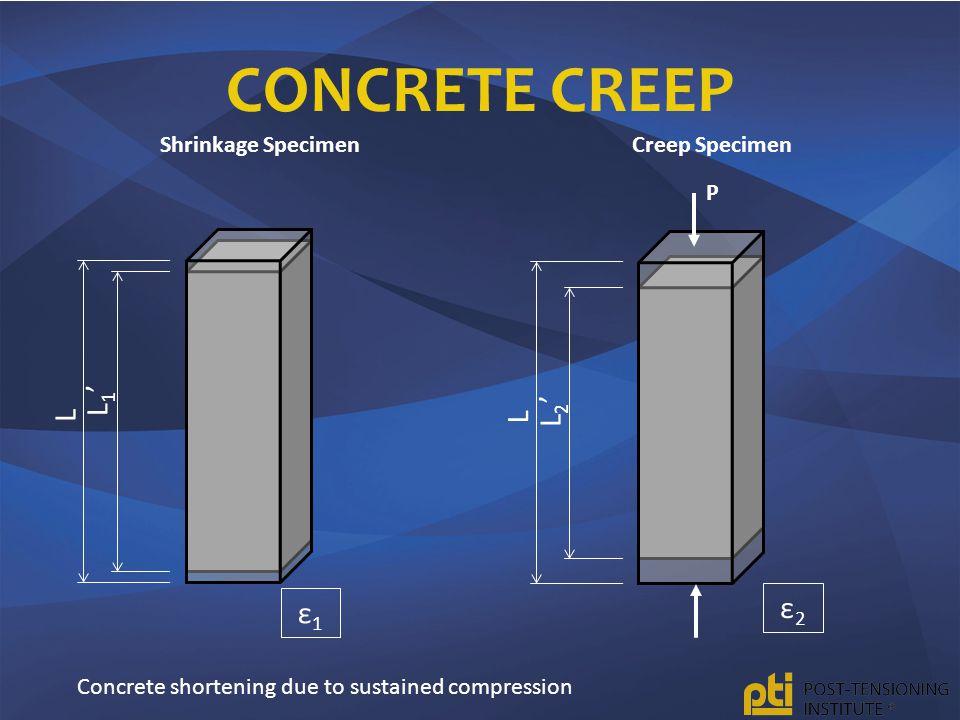 CONCRETE CREEP L L1'L1' Shrinkage Specimen L Creep Specimen L2'L2' P ε1ε1 ε2ε2 Concrete shortening due to sustained compression