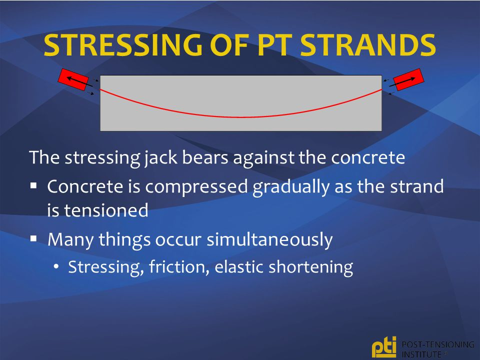 STRESSING OF PT STRANDS The stressing jack bears against the concrete  Concrete is compressed gradually as the strand is tensioned  Many things occur simultaneously Stressing, friction, elastic shortening