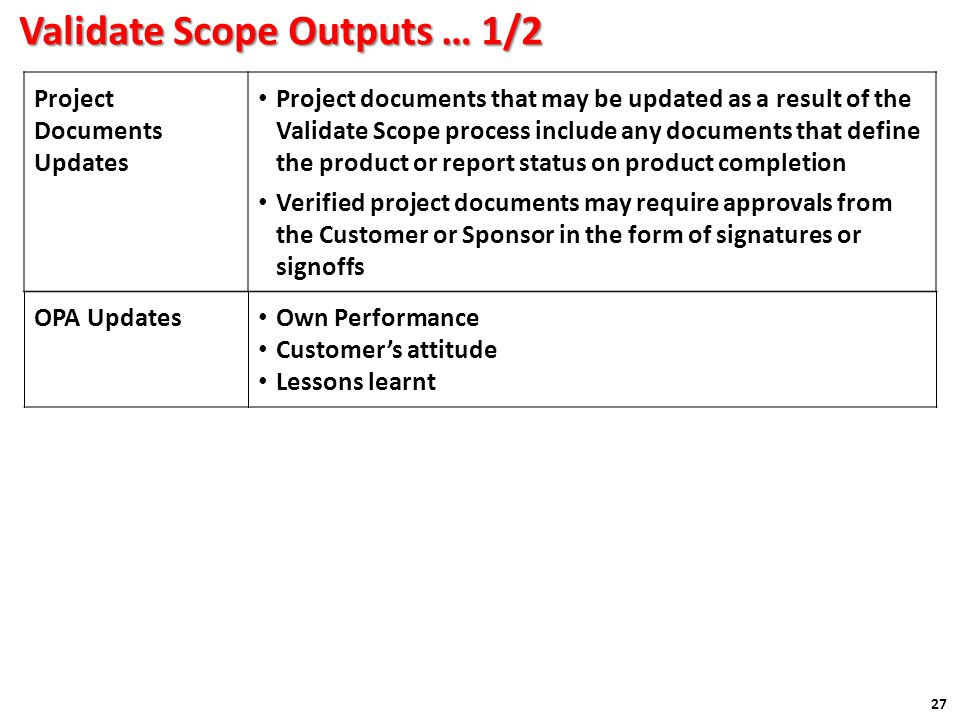 Validate Scope Outputs … 1/2 27 Project Documents Updates Project documents that may be updated as a result of the Validate Scope process include any documents that define the product or report status on product completion Verified project documents may require approvals from the Customer or Sponsor in the form of signatures or signoffs OPA Updates Own Performance Customer's attitude Lessons learnt