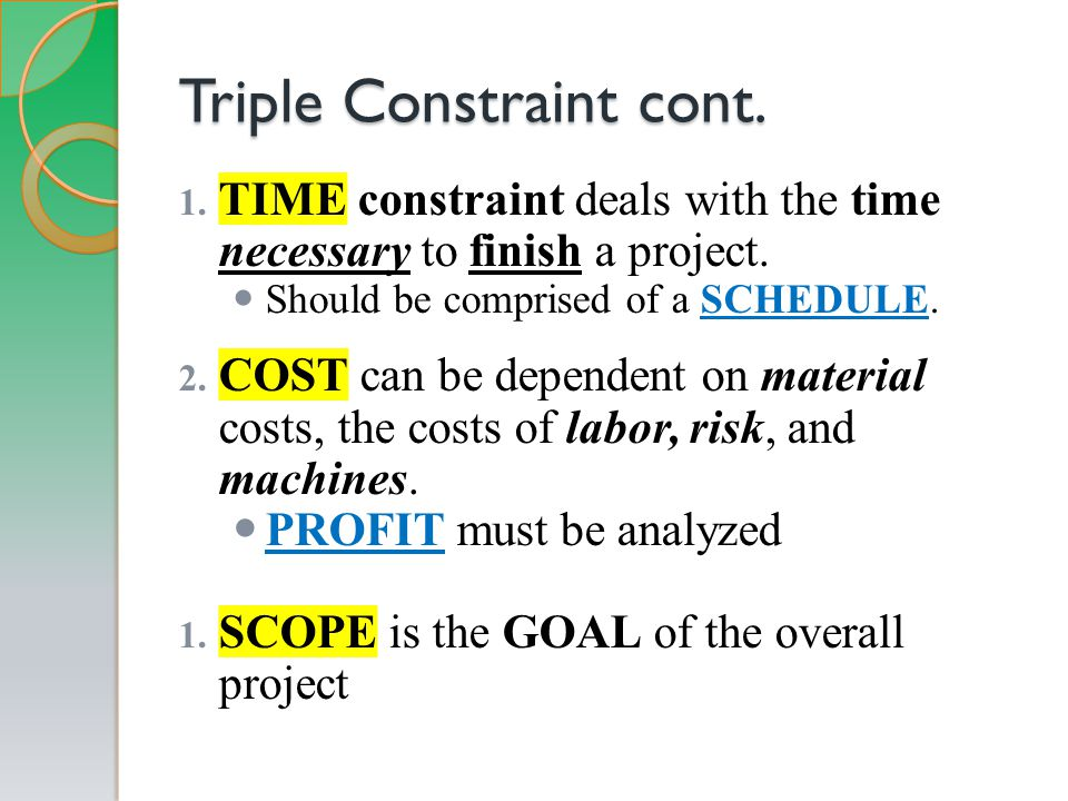 Triple Constraint cont. 1. TIME constraint deals with the time necessary to finish a project.