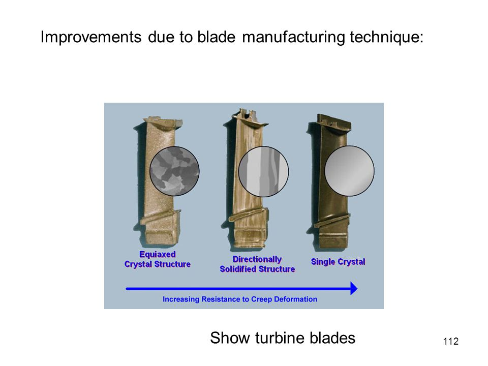 112 Improvements due to blade manufacturing technique: Show turbine blades