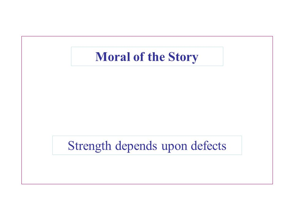 Moral of the Story Strength depends upon defects