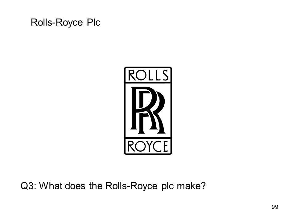 99 Rolls-Royce Plc Q3: What does the Rolls-Royce plc make?